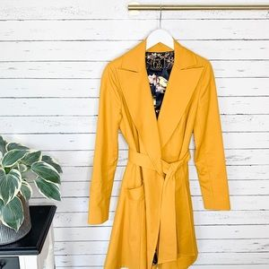 Ted Baker Tunda Flared Skirt Coat Mustard